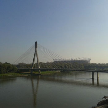 The Vistula river, the Swietokrzyski Bridge and the National Stadium