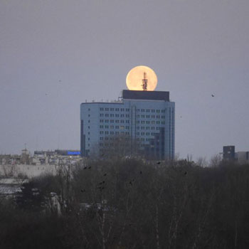 The moonset in Warsaw